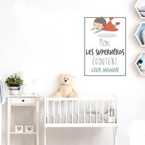 """Adhésif citation pour enfants """"même les superhéros écoutent leur maman"""" décoration chambre de bébé"""