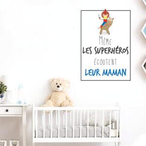 """Autocollant """"même les superhéros écoutent leur maman"""" citation pour enfants déco chambre de bébé"""