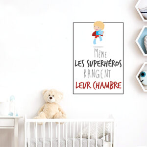 """Sticker affiche adhésive pour chambre de bébé décoration citation """"même les superhéros rangent leur chambre"""""""