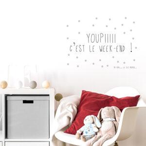 """Autocollant pour chambre d'enfant citation """"youpi c'est le week end"""" pour maman"""