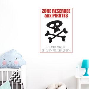Sticker affiche adhésif pour déco chambre d'enfant citation pirates