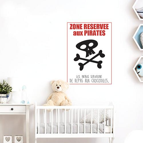 Autocollant affiche adhésive pirates pour decoration de chambre de bébé