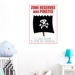 """Autocollant """"zone réservée aux pirates"""" pour décoration de chambre d'enfant"""