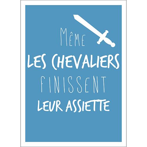 Sticker autocollant bleu citation chevaliers pour déco cuisine ou salle à manger