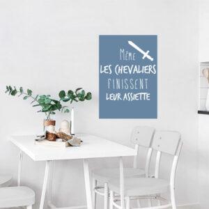 Sticker affiche adhésive bleu citation chevaliers pour salle à manger