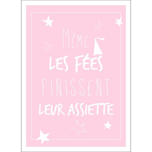 Sticker rose pâle adhésif citation de fées pour décoration cuisine ou salle à manger
