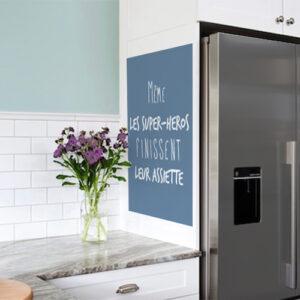 Autocollant pour mur de cuisine citation superhéros bleu