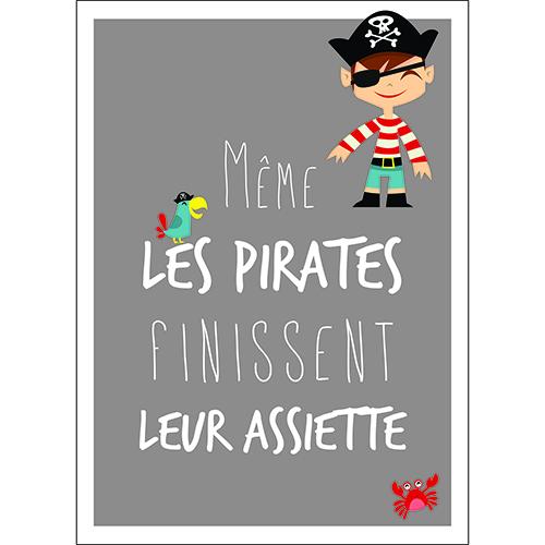 Sticker citation pirates adhésif pour décoration mural gris de cuisine ou salle à manger