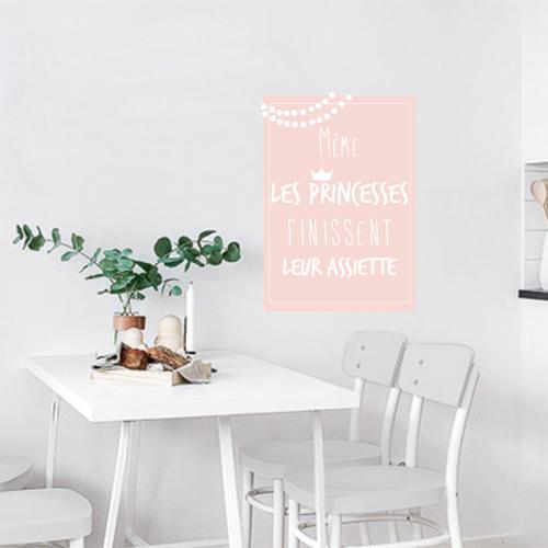 Sticker citation affiche adhésive princesse rose pâle pour salle à manger