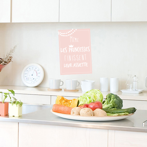 Autocollant pour crédence de cuisine affiche citation princesse rose pâle
