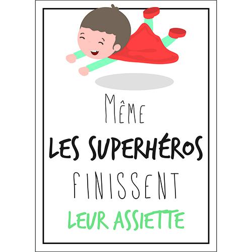 Sticker adhésif blanc pour déco de cuisine et salle à manger citation superhéos