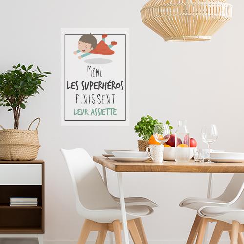 Sticker autocollant Superheros assiette déco de salon