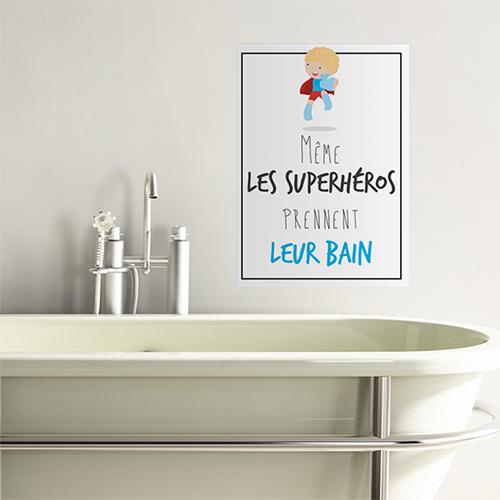 Sticker mural Superheros au dessus d'une baignoire