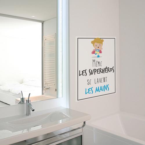 Autocollant pour salle de bain décoration mural superhéros et mains