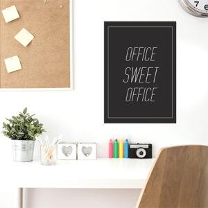 """Adhésif affiche """"office sweet office"""" gris foncé pour décoration au dessus d'un bureau"""
