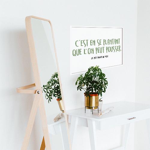 Autocollant déco pour bureau blanc citation humoristique sur les plantes
