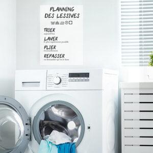 Adhésif planning de lessive pour décoration, de buanderie