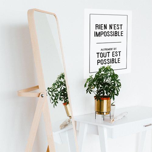 Sticker mural Rien n'est impossible déco avec un miroir et une plante
