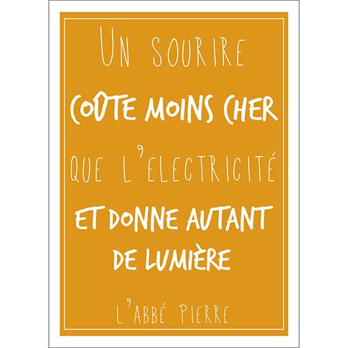Sticker autocollant déco intérieur citation abbé pierre sourire