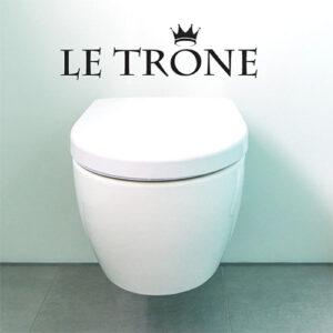 """Autocollant citation """"le trone"""" noir pour décoration de toilettes"""