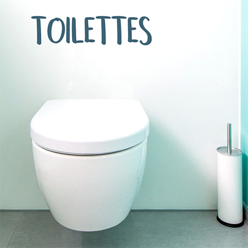 Autocollant pour toilette bleu foncé citation decoration au dessus d'un toilette