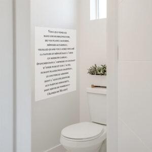 Sticker mural dans une salle de bain citation Vous Qui venez
