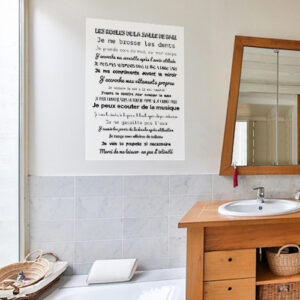 Sticker autocollant Les règles de la SDB à côté d'un miroir de salle de bain