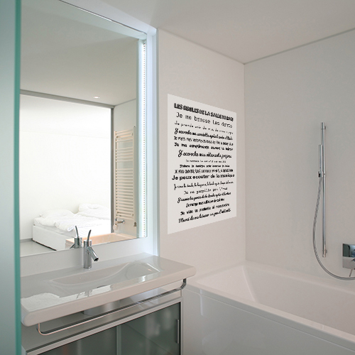 Sticker mural les règles de SDB citation dans une salle de bain sobre