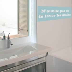 """Autocollant pour salle de bain moderne """"vas te laver les mains"""" citation pour enfant"""