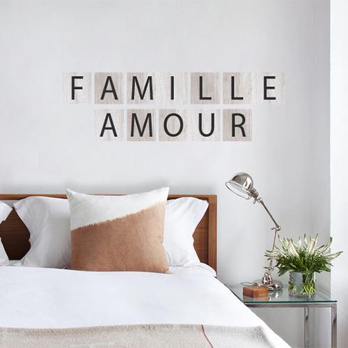 Autocollant citation sur la famille et l'amour pour chambre au dessus d'un lit