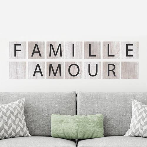 Adhésif pour déco murale de salon citation sur la famille et l'amour