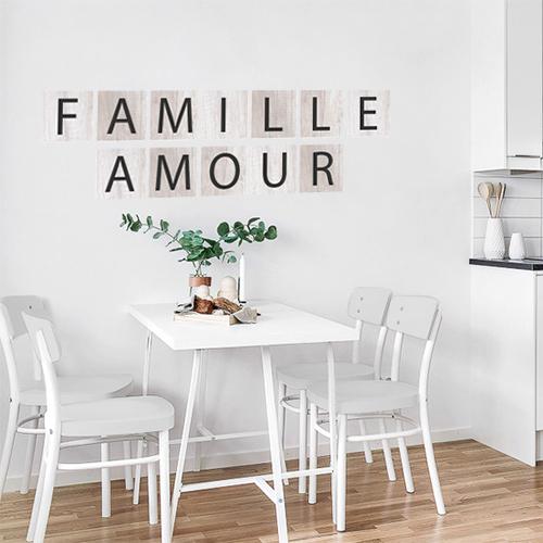 Sticker adhésif famille et amour pour décoration murale de salle à manger