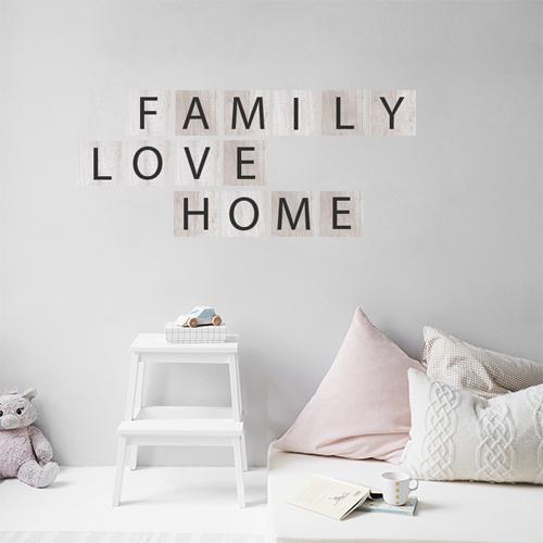 Sticker adhésif citation pour chambre d'enfant family love home