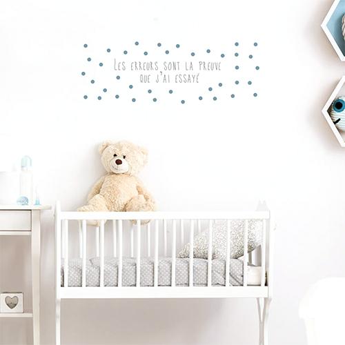 Adhésif pour mur au dessus d'un lit de bébé citation sur la vie et les erreurs