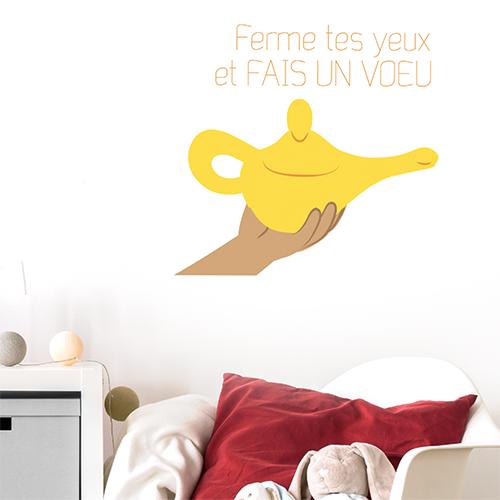 Autocollant jaune citation rêves et voeux pour décorer les murs d'une chambre d'enfant