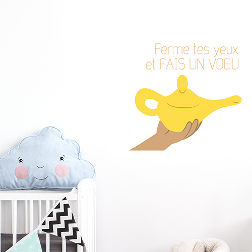 Adhésif décoration chambre de bébé citation rêves jaune