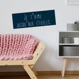 Sticker adhésif bleu foncé pour salon cooconing citation decoration sur l'amour