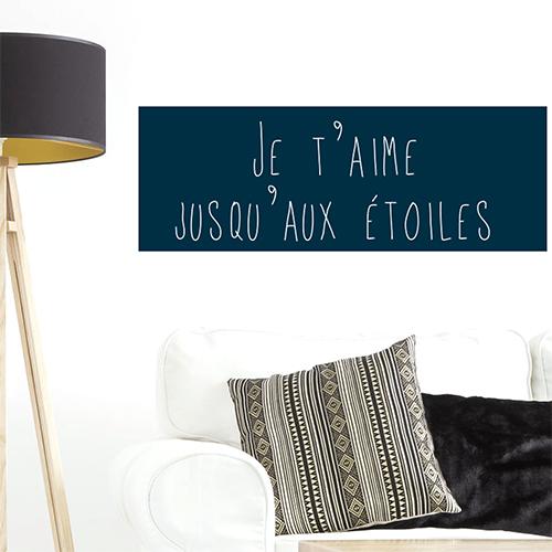 Autocollant citation decoration sur l'amour bleu foncé pour salon moderne