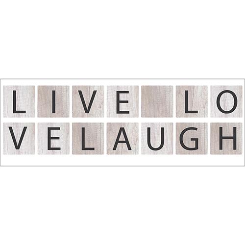 Sticker Live Love Laugh noir sur fond gris