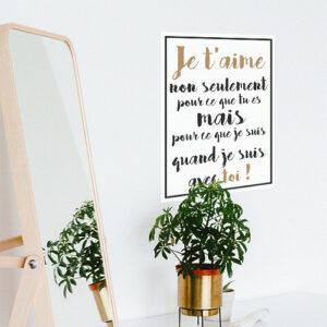 Sticker adhésif Je t'aime dans un salon avec une vitre et une plante