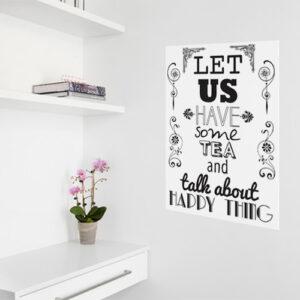 Sticker déco murale Let us have à côté d'une étagère