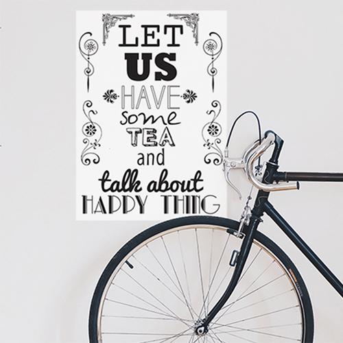 Sticker autocollant citation Let us have à côté d'un vélo