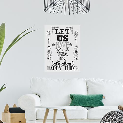 Sticker mural Let us have dans un salon avec une lampe