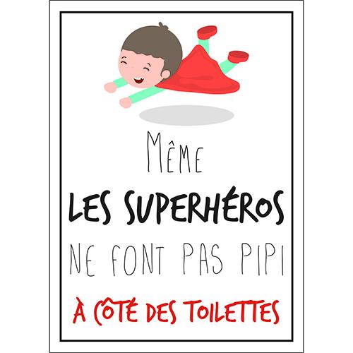 Sticker déco pour enfant Superhéros toilettes