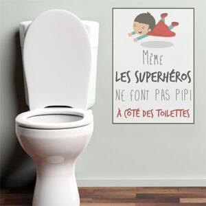 Sticker mural dans des toilettes Superheros