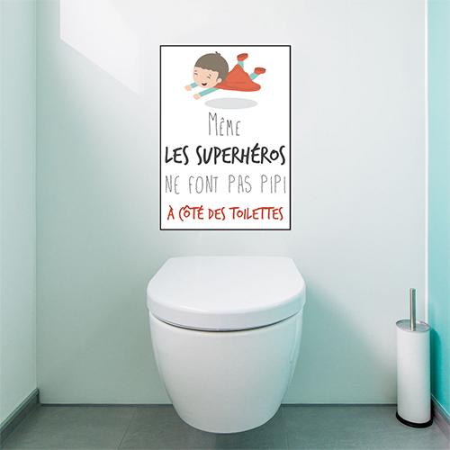 Sticker adhésif superhéros Toilettes au dessus des WC