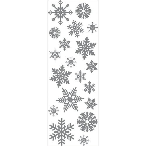 Sticker mural décoratif flocons de neiges argentés