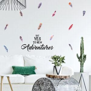 Sticker coloré Welcome to my life déco mural dans un salon