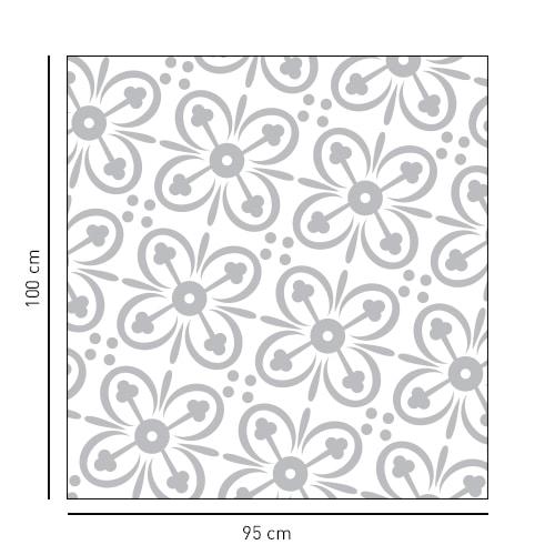 sticker fleuri 4 pétales carré pour portes de douches