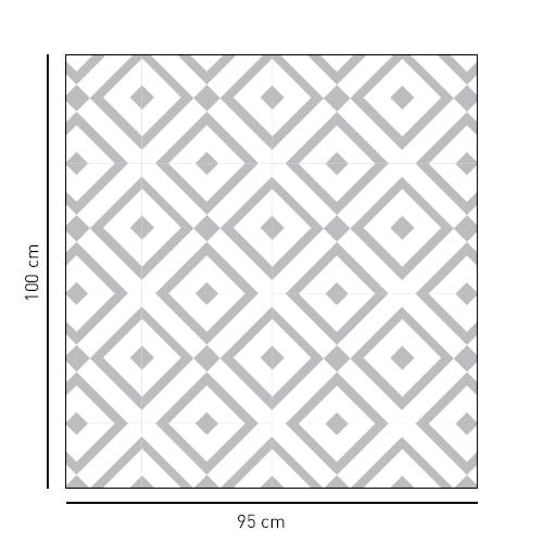 Sticker format carré motif losange noir et blanc pour salle de douche